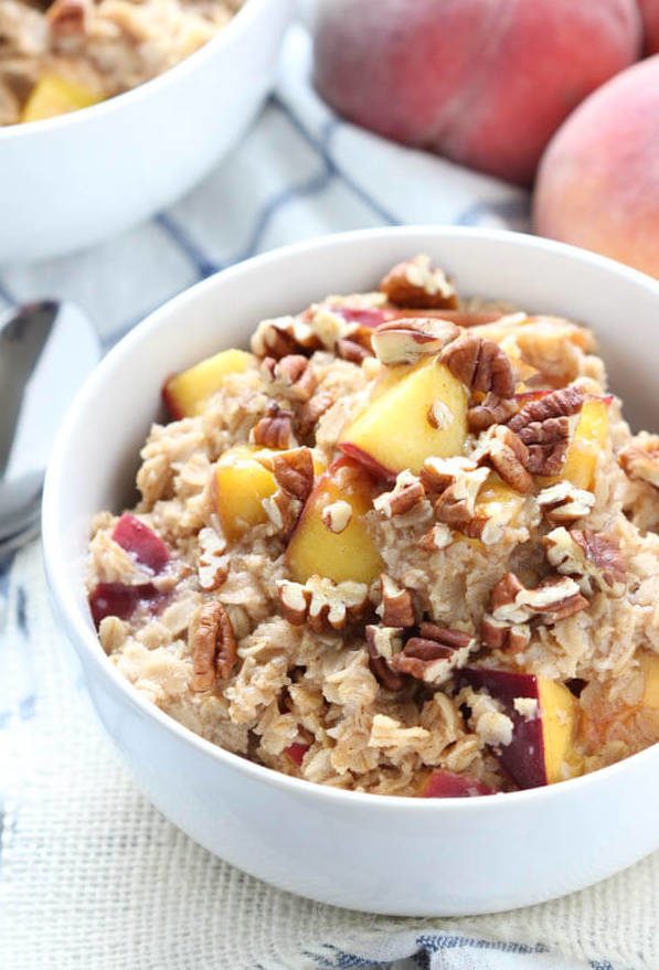 Peach Cobbler Oatmeal Spoonful of flavour